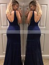 Trumpet/Mermaid V-neck Jersey Sweep Train Split Front Prom Dresses #Favs020106223