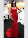 Trumpet/Mermaid Square Neckline Jersey Sweep Train Prom Dresses #Favs020106224