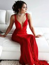 Sheath/Column V-neck Jersey Sweep Train Prom Dresses #Favs020106225