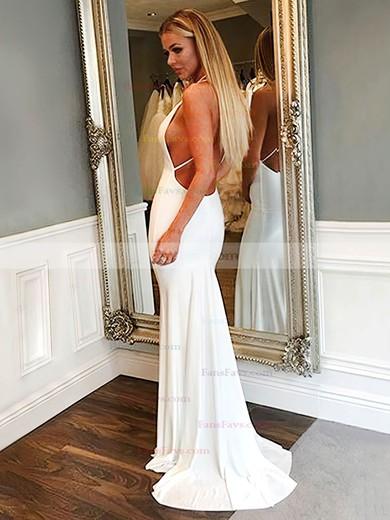 Trumpet/Mermaid V-neck Jersey Sweep Train Prom Dresses #Favs020106227