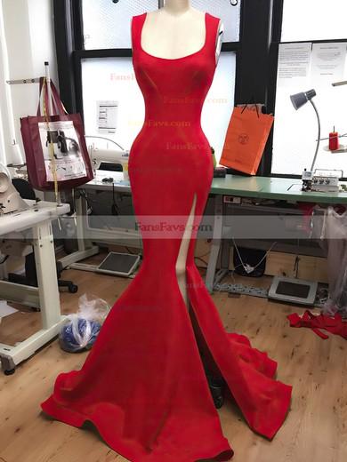 Trumpet/Mermaid Square Neckline Jersey Sweep Train Split Front Prom Dresses #Favs020106229