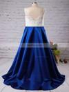 A-line V-neck Satin Sweep Train Beading Prom Dresses #Favs020102206