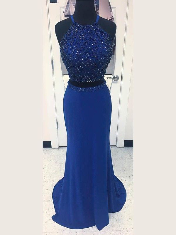 Sheath/Column Scoop Neck Jersey Sweep Train Beading Prom Dresses #Favs020106237