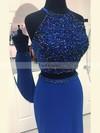 Sheath/Column Scoop Neck Jersey Sweep Train Beading Prom Dresses #Favs020106237