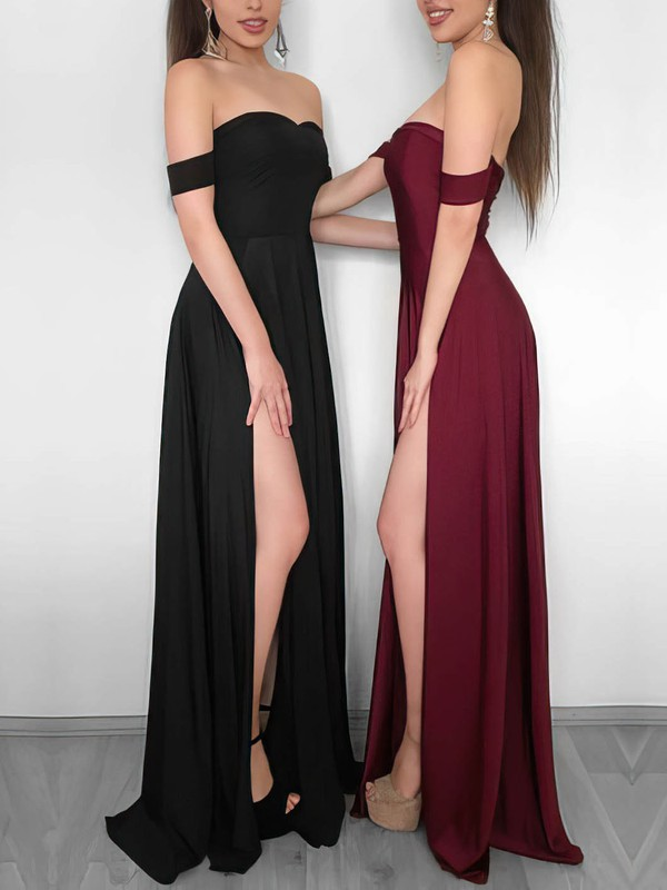 Sheath/Column Off-the-shoulder Jersey Floor-length Split Front Prom Dresses #Favs020106241