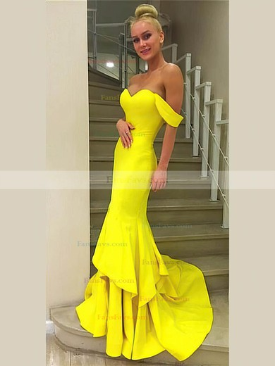 Trumpet/Mermaid Off-the-shoulder Silk-like Satin Sweep Train Cascading Ruffles Prom Dresses #Favs020106242