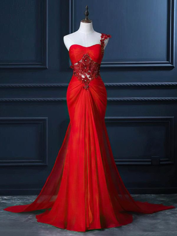 Trumpet/Mermaid One Shoulder Watteau Train Chiffon Beading Prom Dresses #Favs020102212