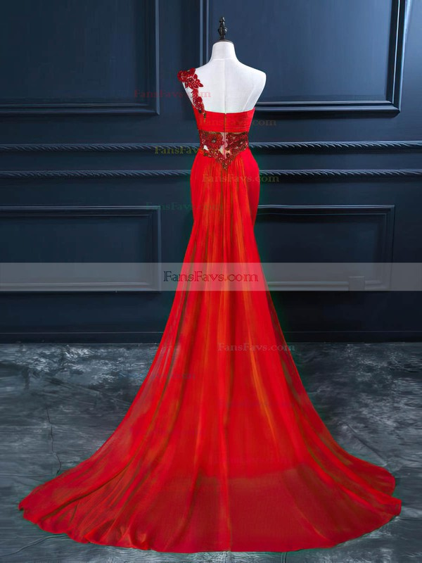 Trumpet/Mermaid One Shoulder Watteau Train Chiffon Prom Dresses with Beading Ruffle #Favs020102212