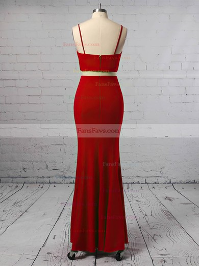 Sheath/Column V-neck Jersey Floor-length Prom Dresses #Favs020106253