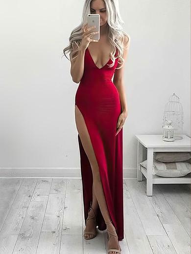 Sheath/Column V-neck Jersey Ankle-length Split Front Prom Dresses #Favs020106254