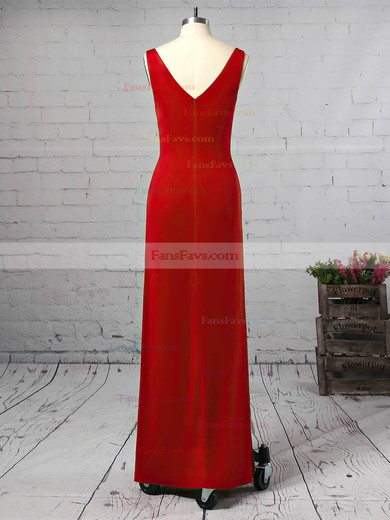 Sheath/Column V-neck Jersey Ankle-length Split Front Prom Dresses #Favs020106254