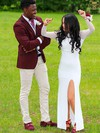 Sheath/Column Scoop Neck Tulle Jersey Floor-length Split Front Prom Dresses #Favs020106259