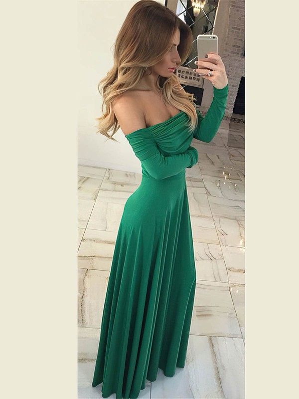 Sheath/Column Off-the-shoulder Jersey Floor-length Ruffles Prom Dresses #Favs020106260