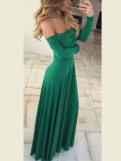 Sheath/Column Off-the-shoulder Jersey Floor-length Ruffles Prom Dresses #Favs020106260