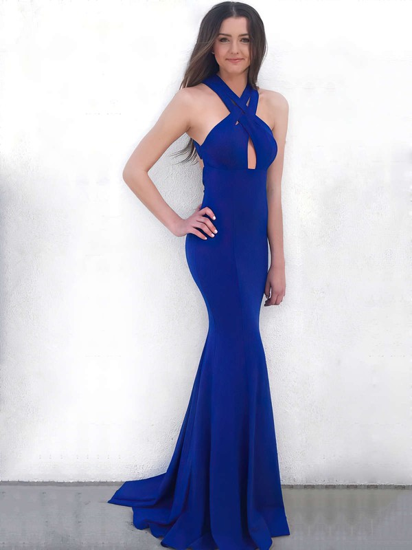 Trumpet/Mermaid V-neck Stretch Crepe Sweep Train Prom Dresses #Favs020106264