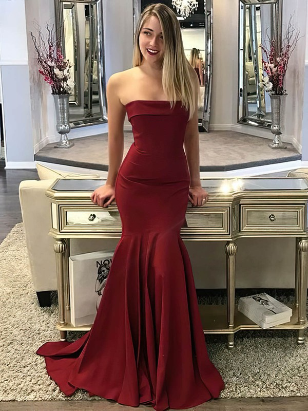 Trumpet/Mermaid Strapless Jersey Sweep Train Prom Dresses #Favs020106268