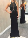 Sheath/Column Scoop Neck Jersey Floor-length Appliques Lace Prom Dresses #Favs020106270