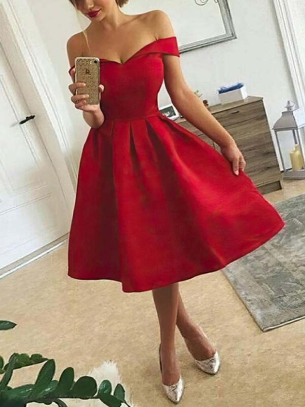 Ball Gown Off-the-shoulder Satin Knee-length Prom Dresses #Favs020106278