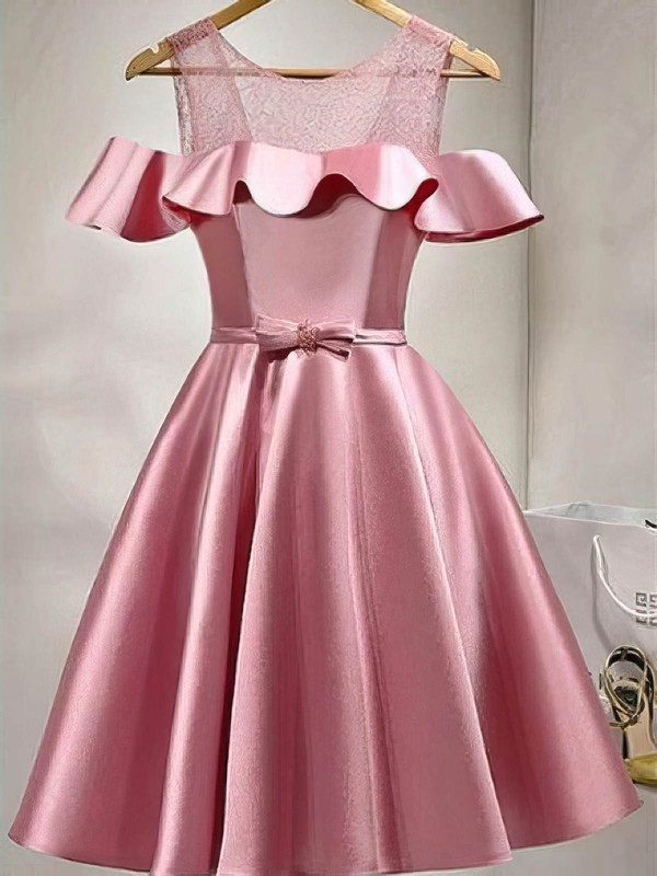 Ball Gown Scoop Neck Lace Satin Knee-length Sashes / Ribbons Prom Dresses #Favs020106279