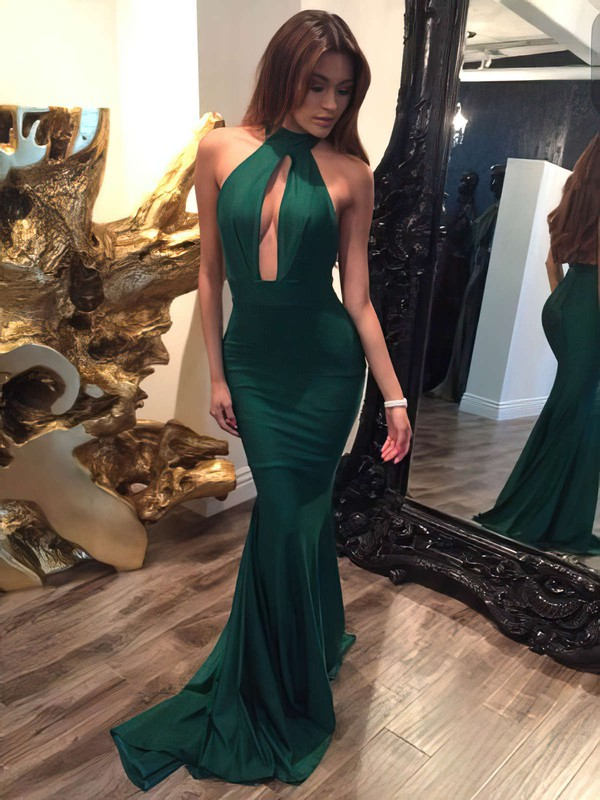 Trumpet/Mermaid Halter Sweep Train Jersey Prom Dresses with Ruffle #Favs020104527