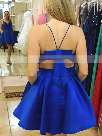 A-line V-neck Satin Short/Mini Bow Prom Dresses #Favs020106285