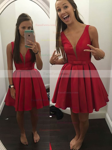 A-line V-neck Satin Short/Mini Bow Prom Dresses #Favs020106286