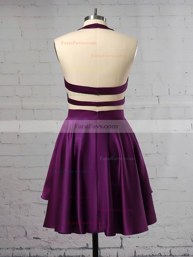 A-line Scoop Neck Satin Velvet Short/Mini Tiered Prom Dresses #Favs020106287