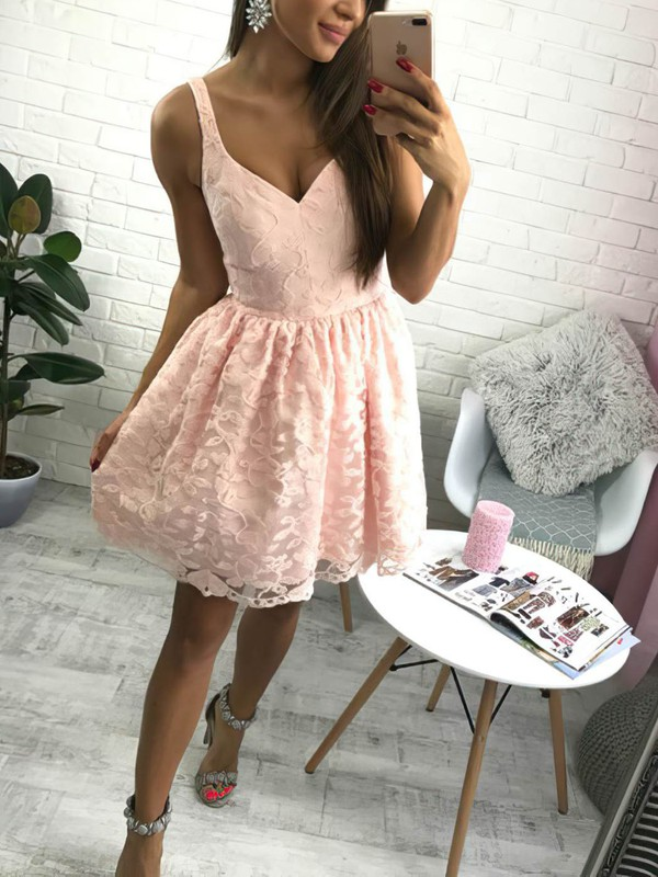A-line V-neck Lace Short/Mini Lace Prom Dresses #Favs020106289