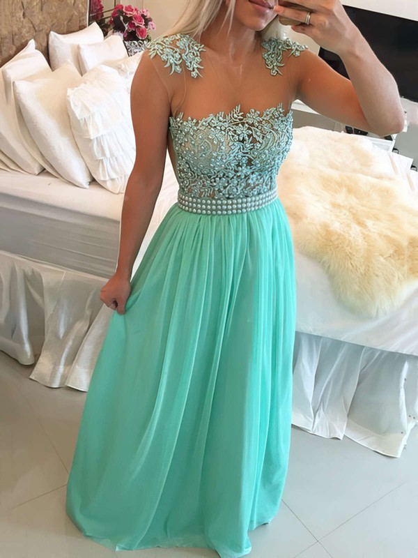 A-line Scoop Neck Chiffon Floor-length Beading Prom Dresses #Favs020102327