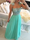 A-line Scoop Neck Floor-length Chiffon Prom Dresses with Appliques Lace Bow #Favs020102327
