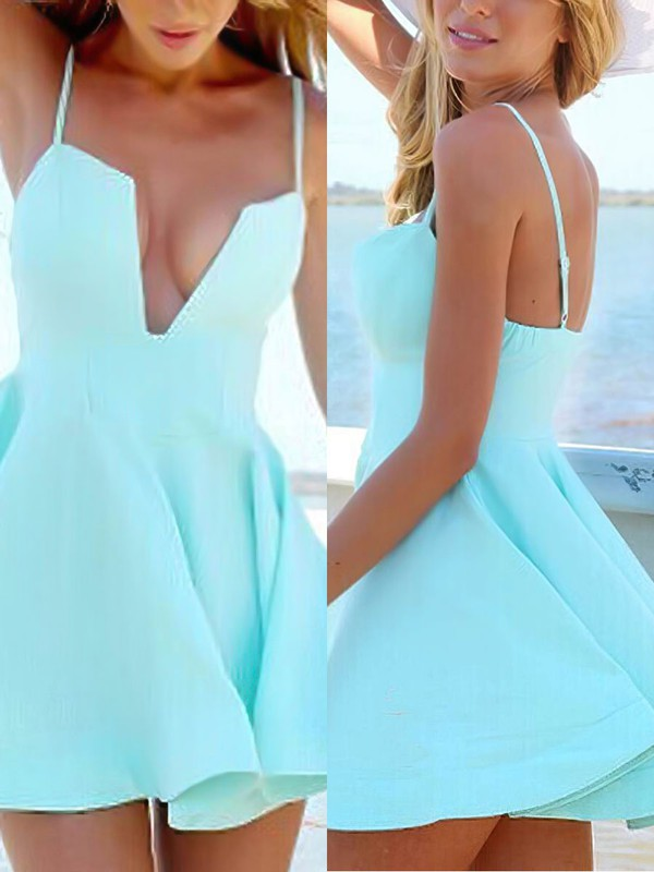A-line V-neck Satin Short/Mini Prom Dresses #Favs020106293