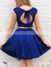 A-line Scoop Neck Satin Short/Mini Beading Prom Dresses #Favs020106294