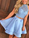 Princess High Neck Lace Satin Short/Mini Tiered Prom Dresses #Favs020106295