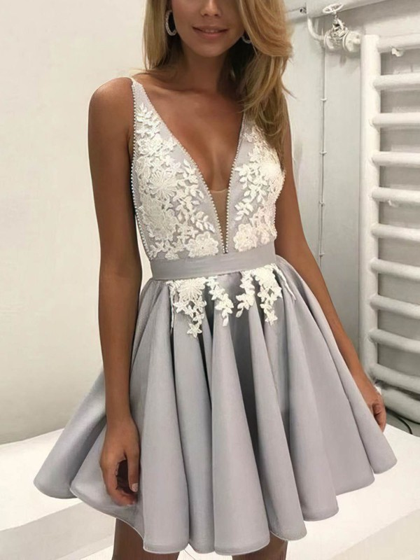 A-line V-neck Satin Short/Mini Lace Prom Dresses #Favs020106298