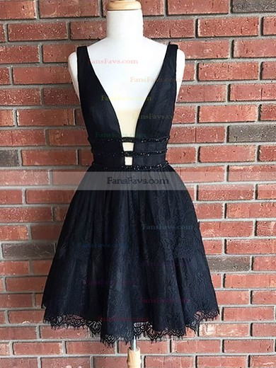 A-line V-neck Lace Short/Mini Sequins Prom Dresses #Favs020106301
