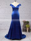 Trumpet/Mermaid Off-the-shoulder Sweep Train Satin Prom Dresses with Ruffle #Favs020102331