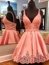 A-line V-neck Satin Short/Mini Sashes / Ribbons Prom Dresses #Favs020106303