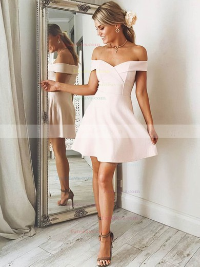 A-line Off-the-shoulder Satin Short/Mini Prom Dresses #Favs020106305