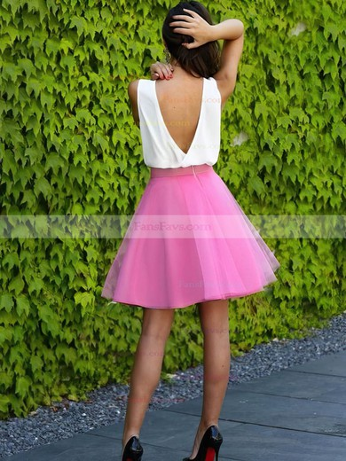 A-line V-neck Organza Short/Mini Prom Dresses #Favs020106310