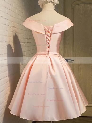 Princess V-neck Satin Knee-length Bow Prom Dresses #Favs020106311