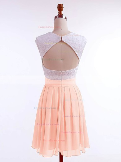 A-line Scoop Neck Chiffon Short/Mini Lace Prom Dresses #Favs020106313