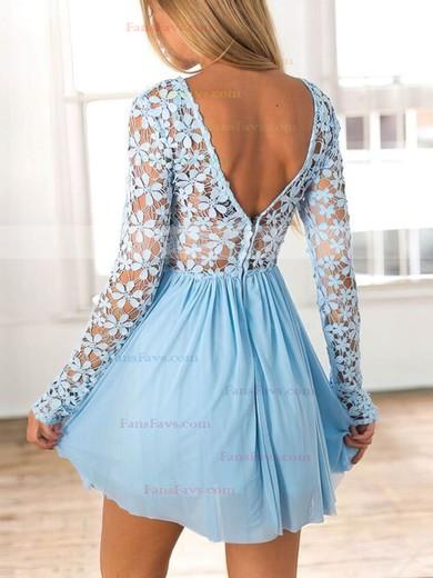 A-line Scoop Neck Lace Chiffon Short/Mini Lace Prom Dresses #Favs020106314