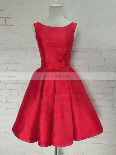 Princess Scoop Neck Satin Knee-length Bow Prom Dresses #Favs020106315