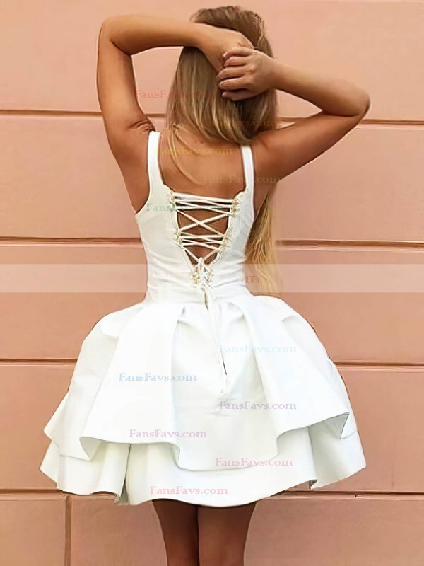 Ball Gown V-neck Satin Short/Mini Tiered Prom Dresses #Favs020106318