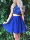 A-line Scoop Neck Chiffon Short/Mini Beading Prom Dresses #Favs020106319