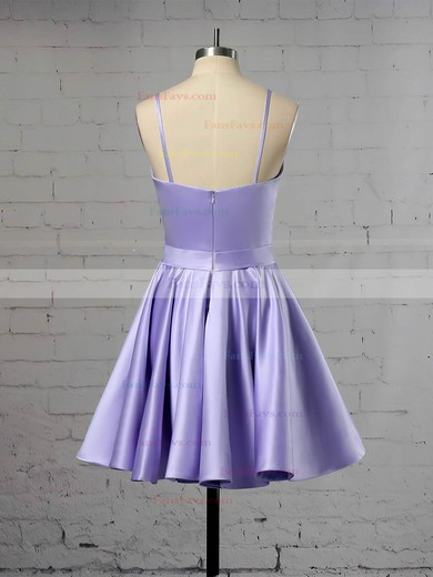 A-line V-neck Satin Short/Mini Prom Dresses #Favs020106321