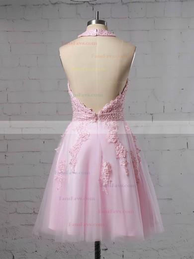 A-line Halter Tulle Short/Mini Beading Prom Dresses #Favs020106322