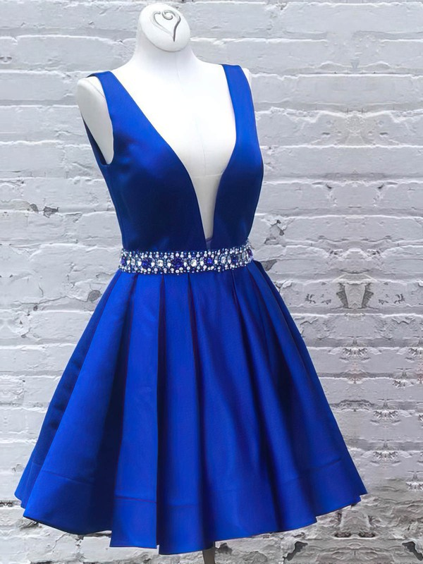 A-line V-neck Satin Short/Mini Beading Prom Dresses #Favs020106323