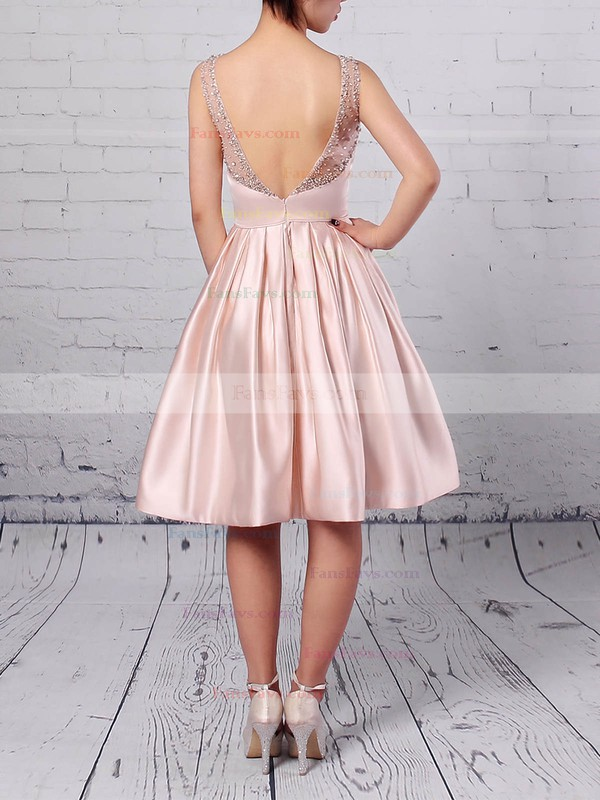 A-line Scoop Neck Satin Tulle Short/Mini Beading Prom Dresses #Favs020106324