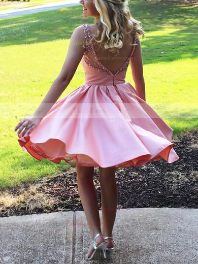 A-line Scoop Neck Satin Tulle Short/Mini Beading Prom Dresses #Favs020106324